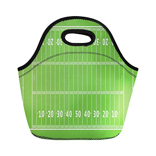 Semtomn Lunch Tote Bag Green Line American Football Field Gridiron Pattern Goal Post Reusable Neoprene Insulated Thermal Outdoor Picnic Lunchbox for Men Women - Gridiron Post Game