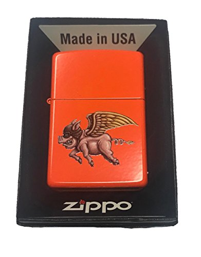 Zippo Custom Lighter - Flying Winged Pig w/Aviator Hat Neon Orange