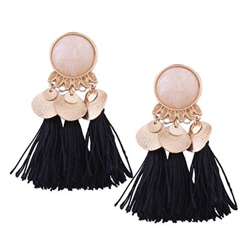 Big Clip Earrings - DENER Women Girls Ladies Bohemian Long Tassel Ear Clips Stud Hoop Dangle Drop Earrings Eardrop (A)