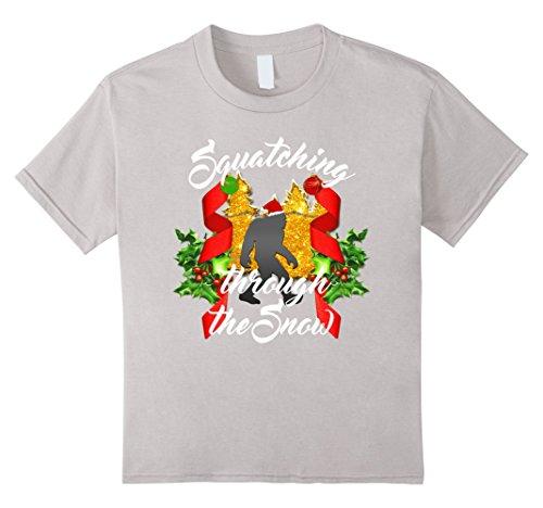 Kids Squatching Through The Snow Bigfoot Christmas T-shirt 8 Silver (Bigfoot Costumes For Kids)