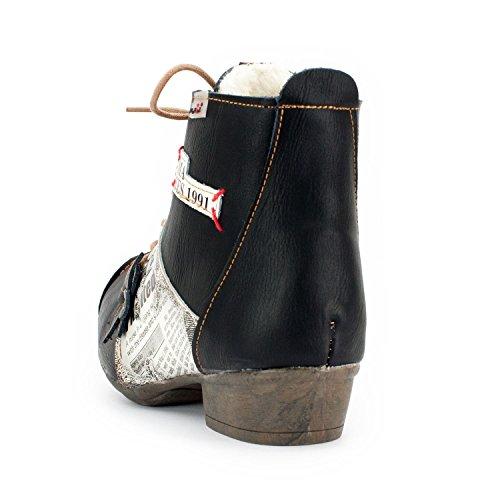 TMA by SEELENlook Damen Winter-Stiefeletten, Echtleder, Farbvarianten, Größen 36-42/43 Schwarz