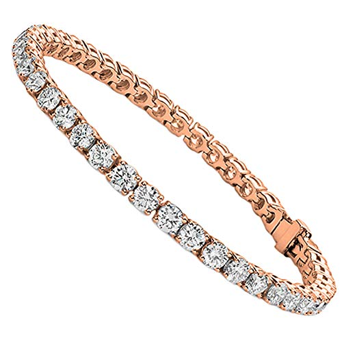 Jade Marie Fabulous 18k Rose Gold Tennis Bracelet with CZ Crystals, Beautiful 18k Pink Gold Plated Wrist Bracelet with Round Cut Cubic Zirconia Stones, Fancy Crystal Bracelets for Women