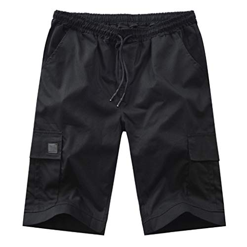 Men's Simple Cargo Short, MmNote Simple Strappy Adjustable Solid Color Knee Rugged Zipper Summer Waist Cargo Short -