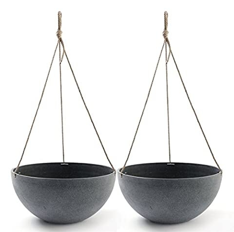 Hanging Planters 13.8 In Resin Flower Pots Outdoor, Garden Planters for Plants, Large Grey, Set of 2
