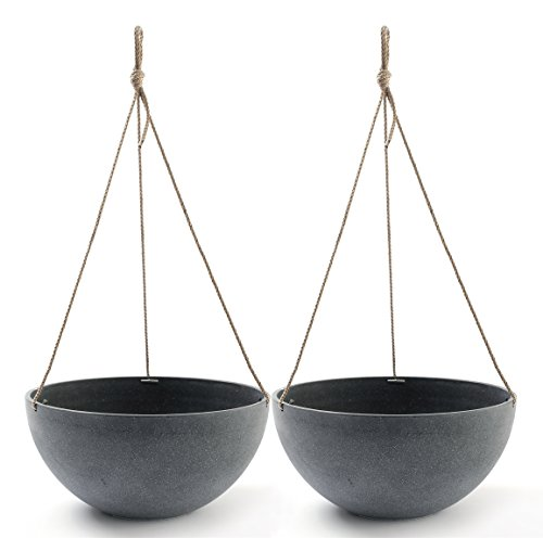 Hanging Planters 13.8 In Resin Flower Pots Outdoor, Garden Planters for Plants, Large Grey, Set of 2 (Large Planters For Outdoors)