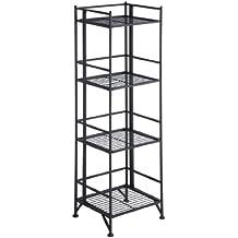 Convenience Concepts Designs2Go X-Tra Storage 4-Tier Folding Metal Shelf, Black