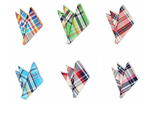 Hello Tie High-grade Men's Grid Cotton Pocket Squares Handkerchiefs 6pcs/lot Set 6 by Hello Tie