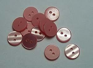 Paquete de 15 color salmón 12 mm 2 agujeros botón camisa bebé
