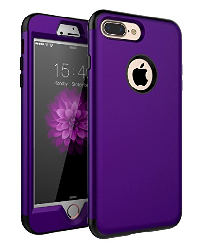 XIQI iPhone 7 Plus Case,iPhone 8 Plus Case Three Layer Heavy Duty Shockproof Cute Girls Woman Anti-Scratch Protective Case Cover for Apple iPhone 7 Plus/iPhone 8 Plus(5.5 inch),Purple Black