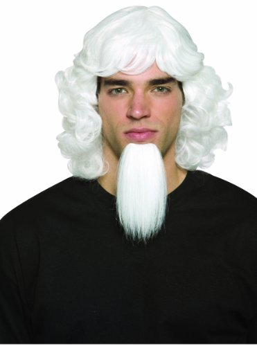 Rasta Imposta Uncle Sam Wig and Goatee Set, White, One Size
