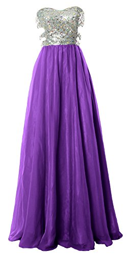 MACloth Fitted Sweetheart Long Cutout Sequin Prom Evening Dress Formal Ball Gown Morado