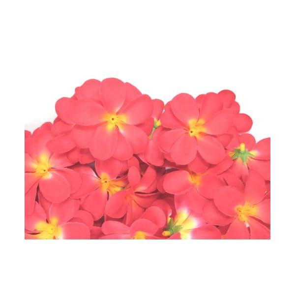 (100) Red Hawaiian Plumeria Frangipani Silk Flower Heads – 3″ – Artificial Flowers Head Fabric Floral Supplies Wholesale Lot for Wedding Flowers Accessories Make Bridal Hair Clips Headbands Dress