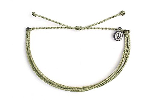 Pura Vida Solid Sage Green Bracelet - Handcrafted with Iron-Coated Copper Charm - Wax-Coated, 100% Waterproof best to buy