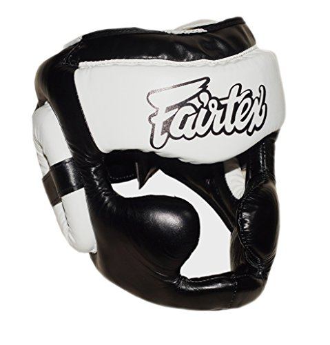Fairtex HG13 Diagonal View Lace-Up Version Head Guard Headguard HeadGear Helmet Boxing Head Guard Thai Boxing K-1 MMA Head Gear Guard Protective Muay Thai (Black-White, Large)