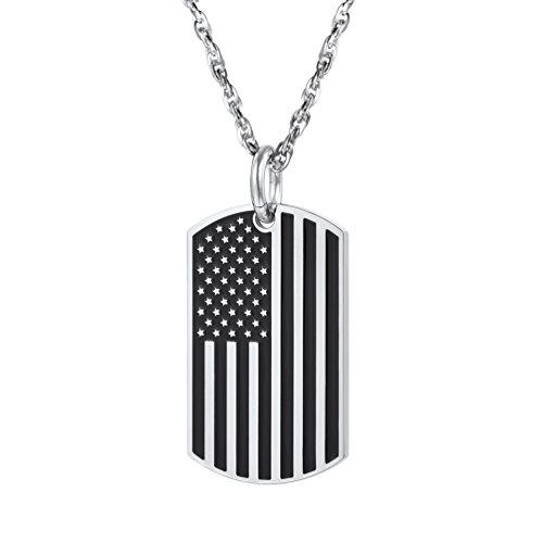 PROSTEEL 4th of July US National Flag Pendant Necklace American Dog Tag Stainless Steel Patriot Necklace Men Chain USA National Symbol Patriotic Independence Day