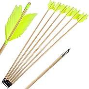 ZSHJGJR Archery Hunting Arrows Target Flu-Flu Arrows Traditional Wooden Arrows 4 Turkey Feathers Fletching for