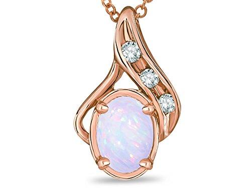 Star K Oval 7x5mm Genuine Opal Pendant Necklace 10 kt Rose (Genuine Oval Opal Pendant)