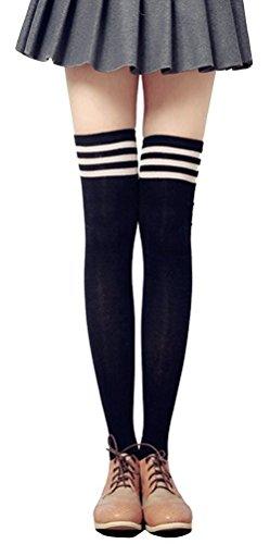 Womens Over Knee Stripe Socks Girls Thigh High Long Cosplay Socks Black White by Azue (Image #1)