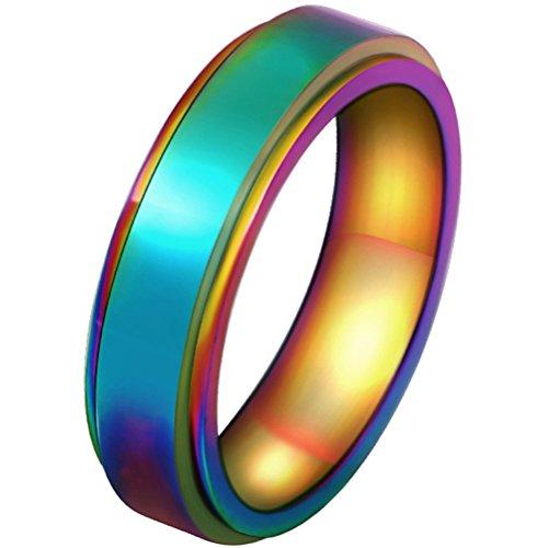 HIJONES Women's Stainless Steel LGBT Gay Lesbian Pride Rainbow Spinner Ring Men Size