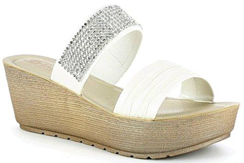 INBLU - Sandalias de vestir de piel sintética para mujer blanco Bianco 38