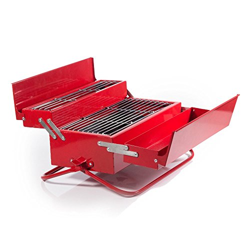 Suck UK - BBQ Tool Box | Camping & Outdoor | Novelty RED Portable Grill | ()