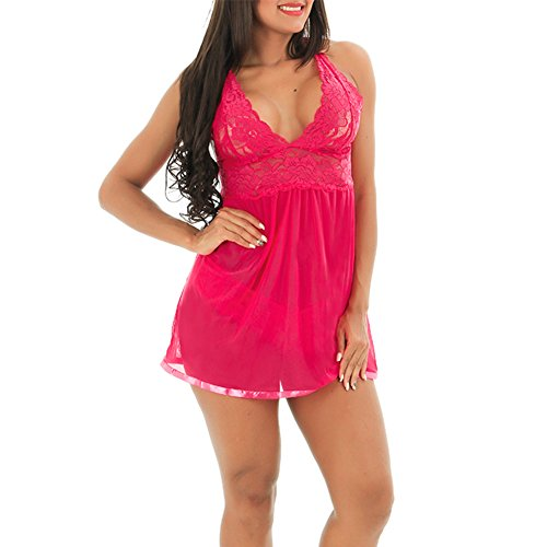 Lover-Beauty Chemises Lace Sexy Lingerie Transparent Babydoll Mesh Nightgown,XX-Large,Rose Red