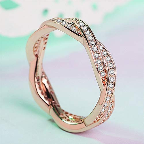 - V-MONI Designed for European and American Popular Winding Micro-Inlaid 18K Rose Gold Ring Female High-Grade Diamond Ring Double Row Diamond Ring Rose Gold 10