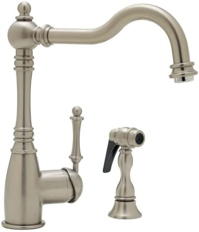 Blanco 440685 Grace Single Handle Kitchen Faucet with Side Spray, Satin Nickel