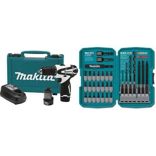 Makita FD02W 12V max Lithium-Ion Cordless 3/8-Inch Driver-Drill Kit with 38 Piece Impact Drill-Driver Bit Set