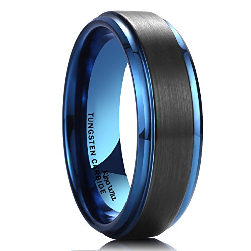 King Will DUO 8mm Black Brushed Blue Tungsten Carbide Wedding Band Ring Polish Finished Comfort Fit 14