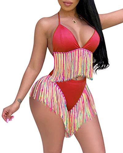 SHANUOINT Women's Colorful Tassel Swimsuit Ladies Vintage Sexy High Waist 2 Piece Bikini Sets (S, Red)