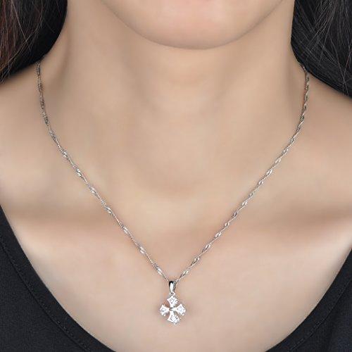Infinite U Collier pendentif le trèfle à quatre feuilles classique orné zircon en argent fin S925 couleur de blanc d'argent Pour femme fille Comme cadeau