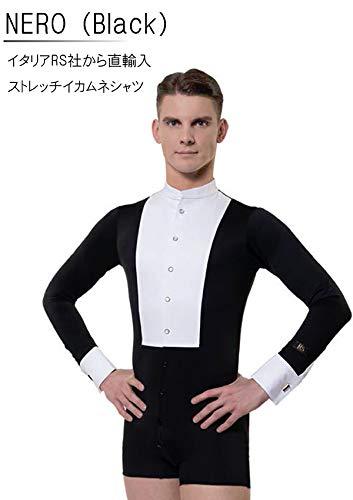 (アールエスアトリエ) RS Atelier 「NERO(黒)(ストレッチイカ胸シャツ)」|男性用ボディシャツ| 社交ダンス|レッスンウェア|ダンス|メンズ|男|男性|シャツ|ボディ|スタンダード|競技|モダン|タンゴ|ワルツ|デモ|ストレッチ  15(38cm)サイズ