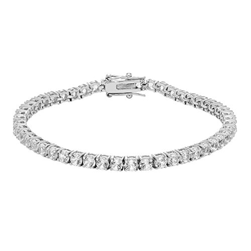 JewelExclusive Sterling Silver 11.25cttw Lab-Created White Sapphire Tennis Bracelet, 7.25""