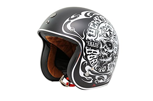 TORC (T50 Route 66) 3/4 Motorcycle Helmet with Graphic (Smoke Skull)