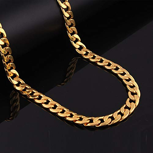 Chains Faux (PinCute Faux Gold Chain Necklace for Men, Feel Real Solid 18k Gold Plated Curb Fake Big Chain Necklace 24