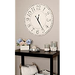 BrandtWorks, LLC AZ-36WHBKTRX Farmhouse Wall Clock, 36 x 36, White/Black