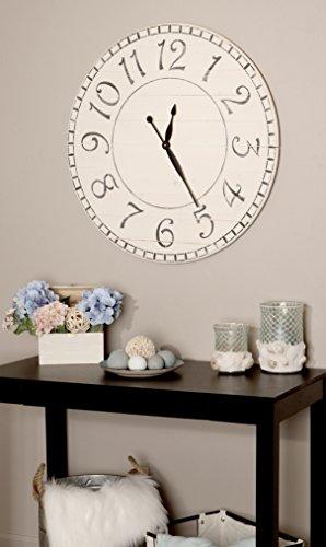 BrandtWorks, LLC AZ-36WHBKTRX Farmhouse Wall Clock, 36 x 36, White/Black (Clock 36)