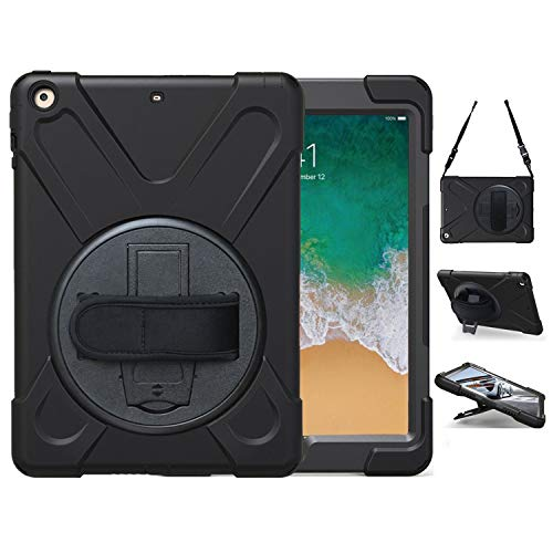 iPad 9.7 2018 2017 Case,TSQ iPad 6th 5th Generation Case Cover for Kids, Carrying Defender Rugged Protective Case with 360 Stand, Handle Hand Strap& Shoulder Strap,Model A1893/A1954/A1822/A1823 Black