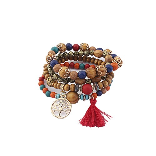 Vintage Chunky Wood (Lureme Vintage Wood Beads Multi Strand Stretch Bracelet Set Life Tree Tassel Charms-Colorful (bl003185-1))