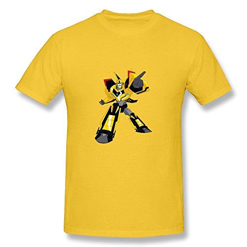 CaiTian Men's Film Transformers Cartoon Bumble Bee T-Shirt - Style Tee Shirt Yellow US Size M (Transformers 3 Dark Of The Moon Ratchet)