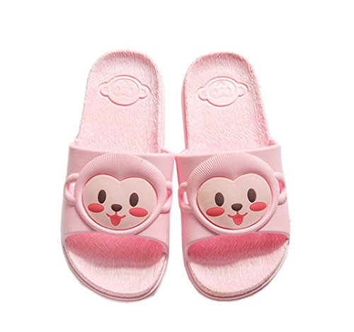 Vokamara Mädchen Affe Skidproof Pantoffeln Pool Beach Slide Sandalen Indoor Bad Hausschuhe Pink
