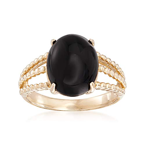 Ross-Simons Black Onyx Oval Cabochon Ring in 14kt Yellow Gold