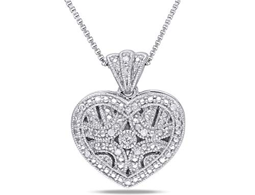 Diamond Locket - 1/20 Carat (ctw) Accent Diamond Locket Heart Pendant In Sterling Silver with Chain