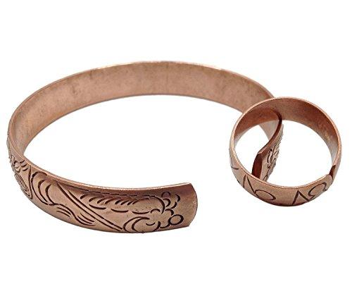 100% Pure Copper Tibetan Healing Bracelet and Ring Set. Unisex, Hand Made High Gauge Copper