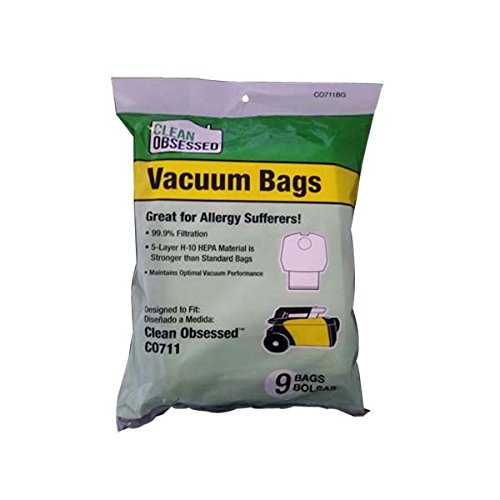 Clean Obsessed CO711 Canister Vacuum Cleaner Hepa Paper Bags 9 Pk # CO711BG