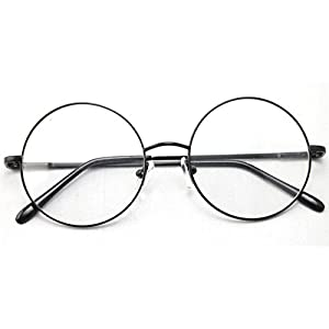Agstum Retro Round Prescription ready Metal Eyeglass Frame (Large Size) (Black)
