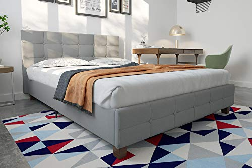 - DHP Rose Linen Upholstered Platform Bed, Gray, Queen