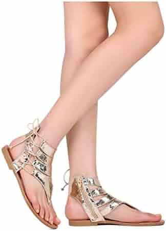 4218da1e927 Liliana GI12 Women Cracked Leatherette Side Lace Up Thong Flat Sandal GI14