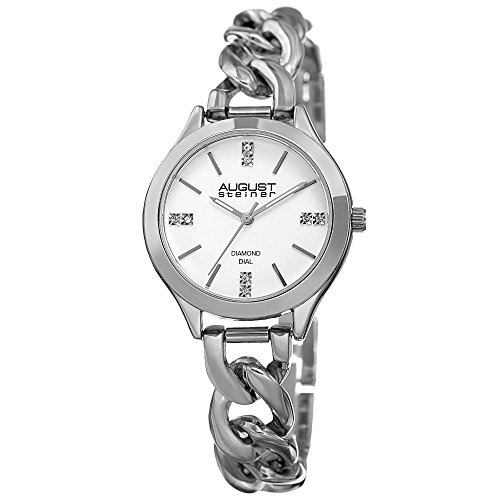 August Steiner Women's Genuine Diamond Silver-Tone Case with White Dial and Silver-Tone Steel Chain Link Bracelet Watch AS8222SS